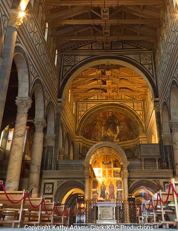 San Miniato al Monte, view down the aisle, toward alter,  Florence, Firenze, Italy.