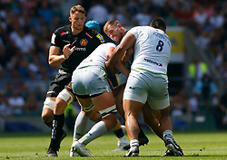 Sam Hill of Exeter Chiefs is tackled by Nick Isiekwe of Saracens and Billy Vunipola of Saracens - Mandatory by-line: Ryan Hiscott/JMP - 26/05/2018 - RUGBY - Twickenham Stadium - London, England - Exeter Chiefs v Saracens - Aviva Premiership Rugby Final