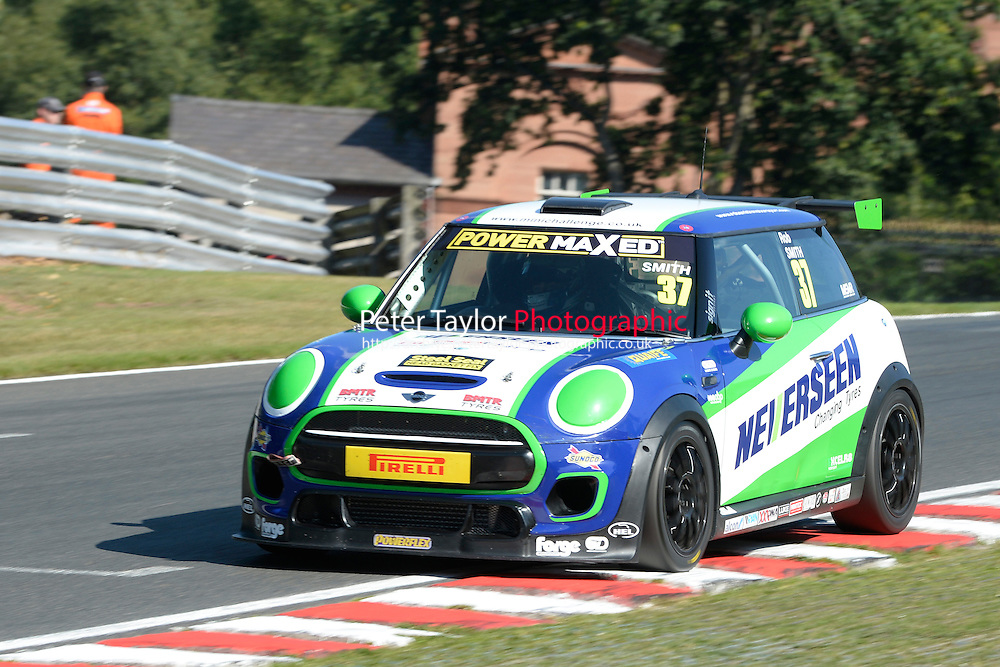 #37 Rob Smith Mini F56 during Power Maxed Mini Challenge - F56/JCW - Qualifying  as part of the Mini Festival  at Oulton Park, Little Budworth, Cheshire, United Kingdom. August 08 2015. World Copyright Peter Taylor. Copy of publication required for printed pictures.  Every used picture is fee-liable. http://archive.petertaylor-photographic.co.uk
