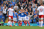Portsmouth Players Celebrate  after Portsmouth Forward, Curtis Main (14) scored 1-0 during the EFL Sky Bet League 2 match between Portsmouth and Crawley Town at Fratton Park, Portsmouth, England on 3 September 2016. Photo by Adam Rivers.