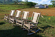 Rocking chairs at a farm in Punta de la Sierra, Pinar del Rio, Cuba.