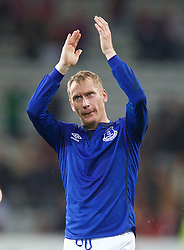 LILLE, FRANCE - Thursday, October 23, 2014: Everton's Tony Hibbert applauds the supporters after the goalless draw with Lille OSC during the UEFA Europa League Group H match at Stade Pierre-Mauroy. (Pic by David Rawcliffe/Propaganda)