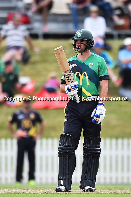 Stags player Tom Bruce during their McDonalds Super Smash T20 match Central Stags v Wellington Firebirds. Saxton Oval, Nelson, New Zealand. Sunday 18 December 2016. ©Copyright Photo: Chris Symes / www.photosport.nz