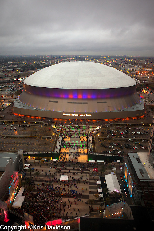 View of the Superdome from the top of the Hyatt Regency in New Orleans.