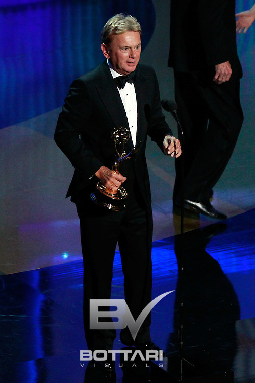 Pat Sajak accepts the Lifetime Achievement Award onstage during the Daytime Emmy Awards on Sunday June 19, 2011 in Las Vegas. (AP Photo/Jeff Bottari)