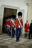 03.01.12. Copenhagen, Denmark.The Danish Royal Guard arrives to Christiansborg Palace, for the New Year's Court for the Diplomatic Corps.Photo:© Ricardo Ramirez