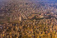 An aerial view of Kathmandu, Nepal.