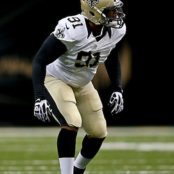 Aug 9, 2013; New Orleans, LA, USA; New Orleans Saints linebacker Will Smith (91) against the Kansas City Chiefs during a preseason game at the Mercedes-Benz Superdome. The Saints defeated the Chiefs 17-13. Mandatory Credit: Derick E. Hingle-USA TODAY Sports