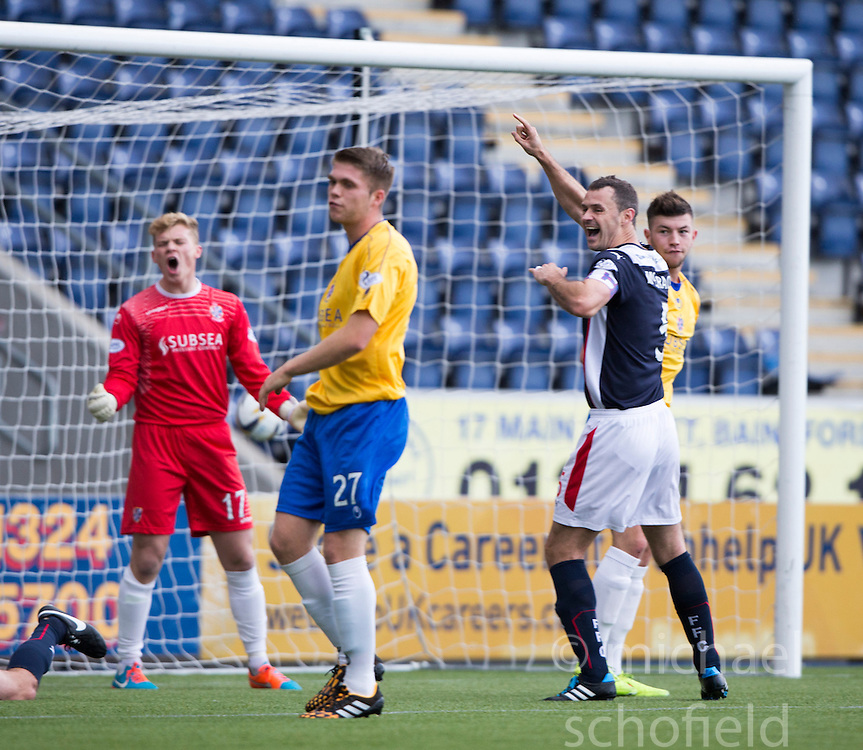 David McCracken cele Falkirk's David Smith free kick goal.<br /> Falkirk 6 v 0 Cowdenbeath, Scottish Championship game played at The Falkirk Stadium, 25/10/2014.