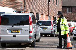 © Licensed to London News Pictures. 21/03/2018. Salisbury, UK. A convoy carrying Investigators from the Organisation for the Prohibition of Chemical Weapons (OPCW)  arrives at The Mill pub in Salisbury as police continue their investigation after former Russian spy Sergei Skripal was taken after he and his daughter Yulia were poisoned with nerve agent. The couple where found unconscious on bench in Salisbury shopping centre. A policeman who went to their aid is currently recovering in hospital. Photo credit: Peter Macdiarmid/LNP