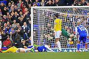 Ipswich Town forward Freddie Sears (20) (grounded) scores the opening goal during the EFL Sky Bet Championship match between Ipswich Town and Leeds United at Portman Road, Ipswich, England on 18 February 2017. Photo by Nigel Cole.