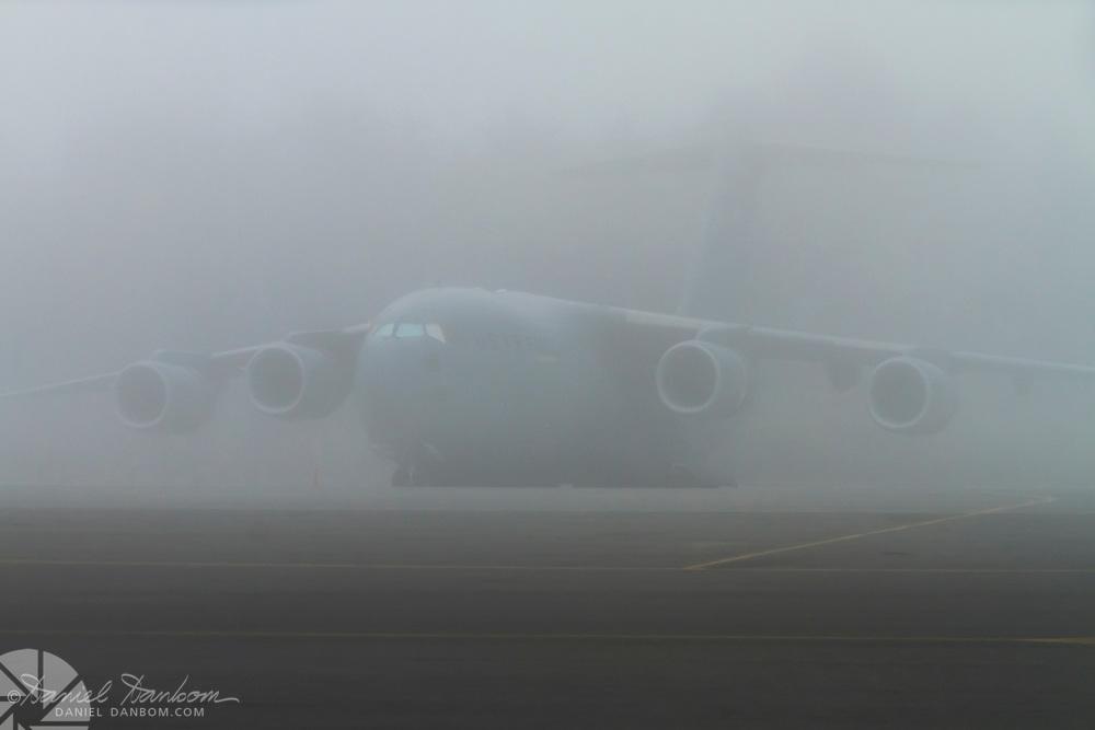 C-17 in the fog, at MRY, Monterey Jet Center,