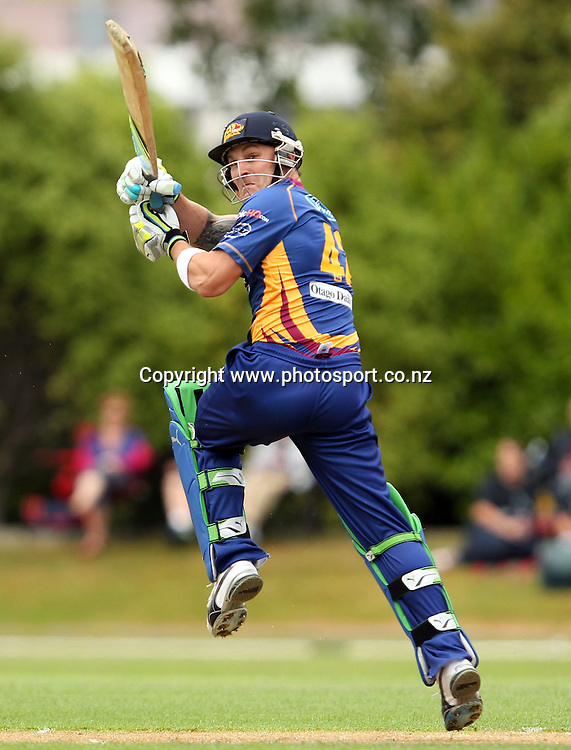 Brendon McCullum in action for the Volts.<br /> Twenty20 Cricket - HRV Cup, Otago Volts v Northern Knights, 29 December 2011, University Oval, Dunedin, New Zealand.<br /> Photo: Rob Jefferies/PHOTOSPORT