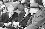 Mr. Alf Murray President GAA, President Eamonn DeValera and Taoiseach Sean Lemass enjoying the All Ireland Senior Gaelic Football final Kerry v. Galway in Croke Park on 27th September 1964.