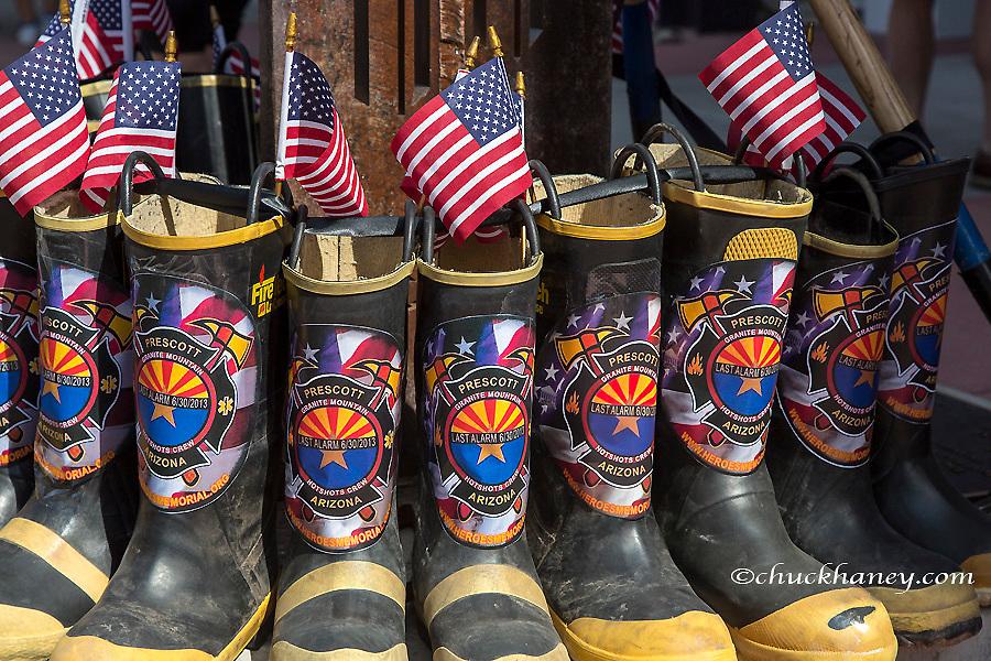 Tribute to fallen firefighters in Aspen, Colorado, USA