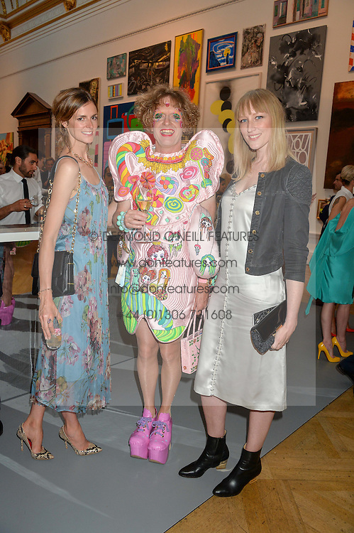 Left to right, JACQUETTA WHEELER, GRAYSON PERRY and JADE PARFITT at the Royal Academy of Arts Summer Exhibition Preview Party at The Royal Academy of Arts, Burlington House, Piccadilly, London on 7th June 2016.