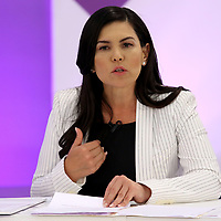 Toluca, México (Mayo 09, 2017).- Teresa Castell, Candidata Independiente a la gubernatura del Edo Mex, durante el segundo debate en las instalaciones del IEEM. Agencia MVT / Especial IEEM.