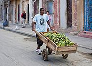 Man with handcart in Cardenas, Matanzas, Cuba.