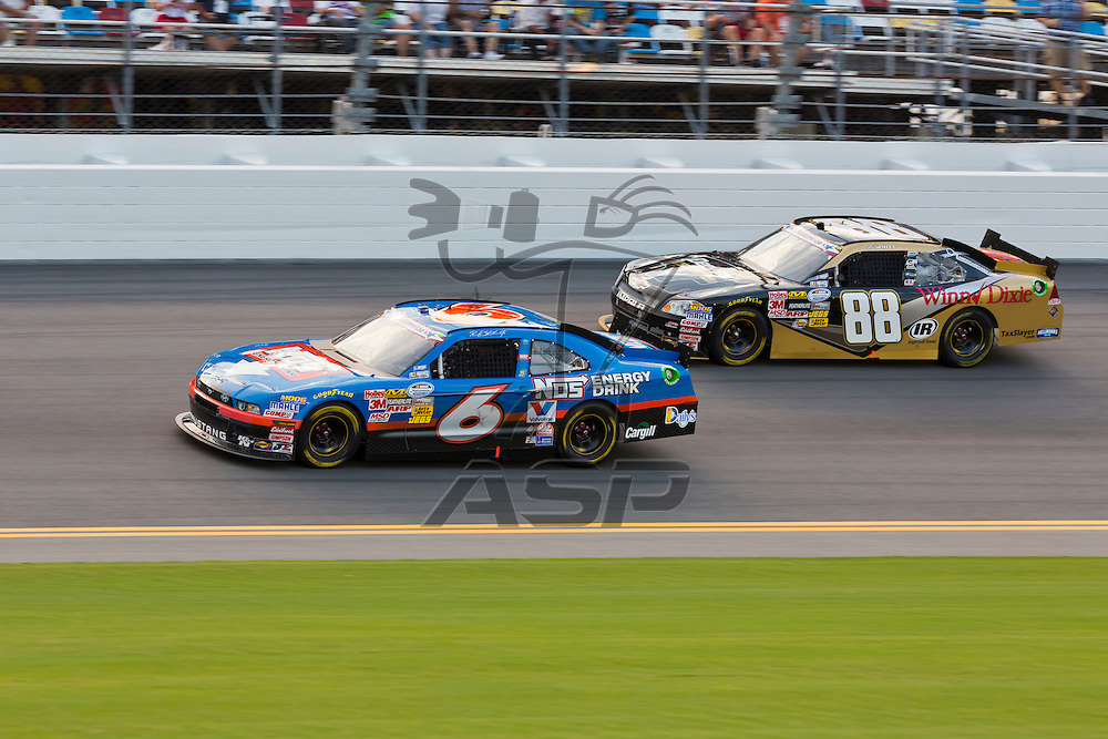 DAYTONA BEACH, FL - JUL 06, 2012:  The NASCAR Nationwide Series teams take to the track for the running of the Subway Jalapeno 250 at the Daytona International Speedway in Daytona Beach, FL.