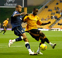 Photo: Ed Godden.<br /> Wolverhampton Wanderers v Southend United. Coca Cola Championship. 04/11/2006. Southend's Lewis Hunt (L) chases Rohan Ricketts.