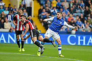 Sheffield Wednesday forward Gary Hooper (14) scores a goal to make it 1-2 during the EFL Sky Bet Championship match between Sheffield Wednesday and Sheffield Utd at Hillsborough, Sheffield, England on 24 September 2017. Photo by Adam Rivers.