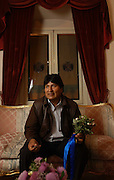 La Paz, Bolivia.<br />Evo Morales, in the Bolivian presidential palace. The leader of the socialist MAS party and the former coca grower's union leader is Bolivia's president. His election has underlined a trend towards leftwing leaders in Latin America.
