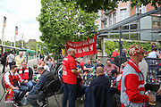 Liverpool fans enjoy drinks and beers in city centre before the Europa League Final match between Liverpool and Sevilla at St Jakob-Park, Basel, Switzerland on 18 May 2016. Photo by Phil Duncan.