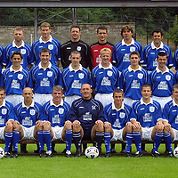 St Johnstone FC photocall season 2001/02<br />Back row from left, Tommy Lovenkrands, Graeme Jones, Darren Dods, Alan Main, Kevion Cuthbert, Nick Dasovic, Darren Jackson and Mark McCulloch<br />Middle from left, Atholl Henderson, (community coach) Momo Sylla, Paul Hartley, Stewart McCluskey, John Paul McBride, Stephen Frail, Ross Forsyth, Paddy Connolly, Paul Kane and Nick Summersgill (physio)<br />Front from left, Henry Hall, (youth coach), David McClune,  Rachid Djebaili, Jim Weir, Sandy Clark, (manager), Keigan Parker, Grant Murray, Craig Russell and Billy Kirkwood, (asst manager)<br /><br />see story by Gordon Bannerman Tel: 01738 493213<br /><br />Picture by Graeme Hart.<br />Copyright Perthshire Picture Agency<br />Tel: 01738 623350  Mobile: 07990 594431