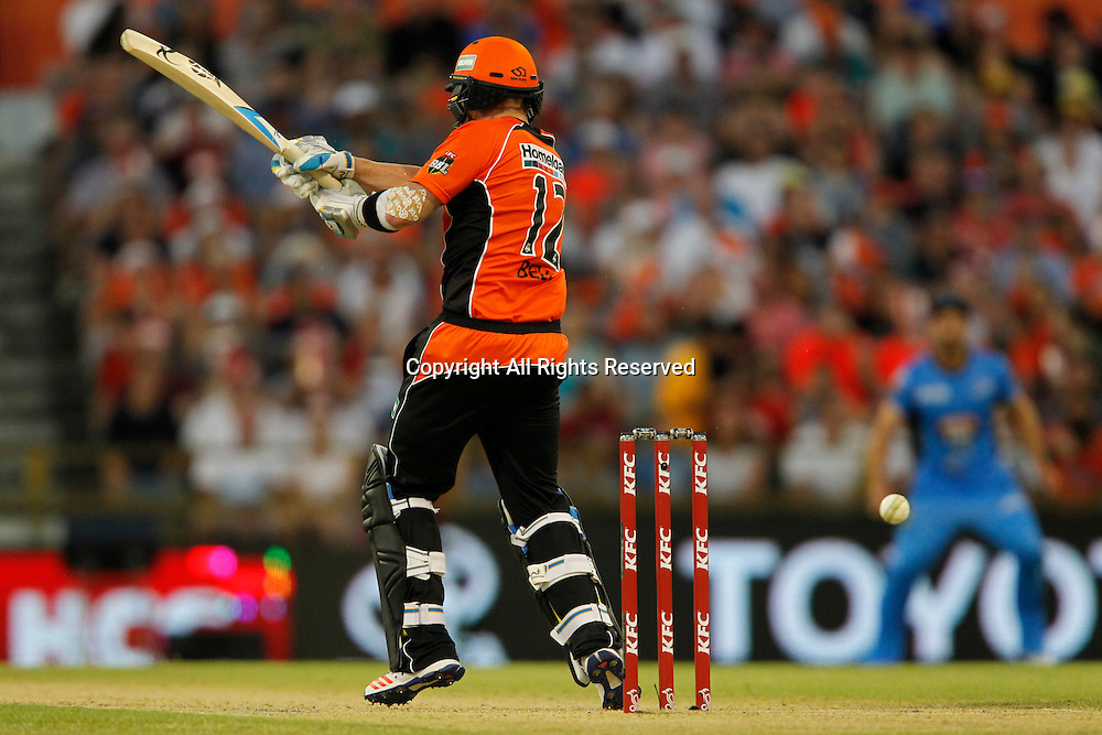 23.12.2016. WACA Ground, Perth, Australia. BBL Cricket League. Perth Scorchers versus Adelaide Strikers. Ian Bell gets an inside edge to the boundary to bring up his maiden half century off 35 balls.