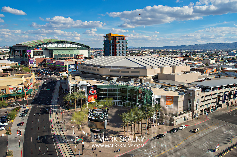 PHOENIX, USA - FEBRUARY 4: View of US Airways Center and Chase Field on February 4, 2014 in Phoenix, Arizona. Chase Field is the home of the Arizona Diamondbacks.  US Airways Center is the home of the  Phoenix Suns, Phoenix Mercury, and Arizona Rattlers.