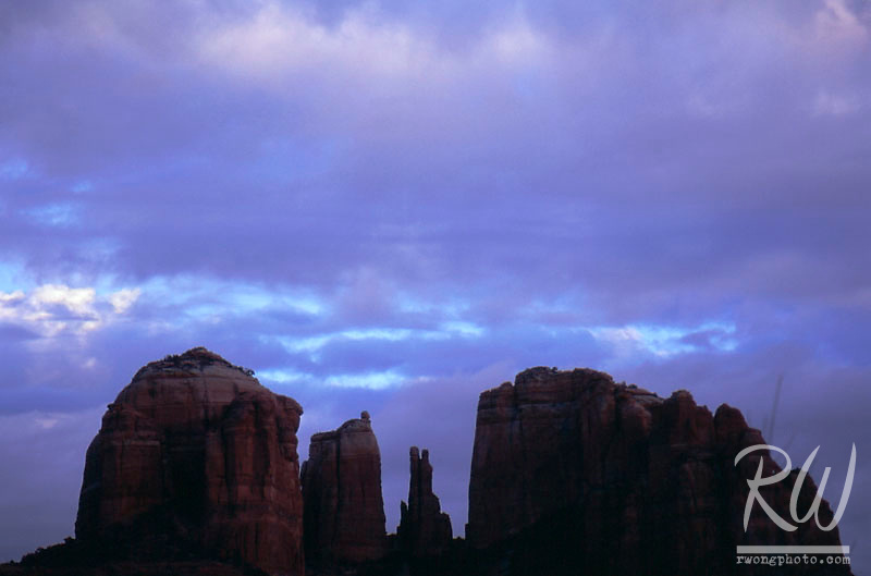Storm Clouds at Sunset over Cathedral Rocks at Red Rock Crossing, Sedona, Arizona