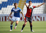 Genoa's Italian defender Antonio Barreca controls the ball as Brescia Calcio's Italian striker Ernesto Torregrossa closes in during the Serie A match at Stadio Mario Rigamonti, Brescia. Picture date: 27th June 2020. Picture credit should read: Jonathan Moscrop/Sportimage