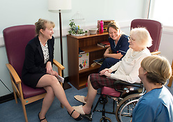 Scottish Health Secretary Shona Robison meets with patient Jean Seath from Kirkcaldy at the town's Victoria Hospital to announce £5 million GBP extra funding for NHS services in Scotland to help with tackling the increased strain on health services during the winter months.<br /> © Dave Johnston/ EEm