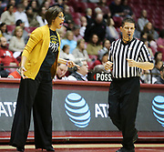LSU head coach Nikki Fargas yells to her team but catches referee Frank Steratore in an accidental crossfire as LSU plays Alabama in Coleman Coliseum Sunday, Jan. 20, 2019. [Staff Photo/Gary Cosby Jr.]