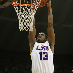 14 February 2009 LSU guard Terry Martin (13) dunks during a NCAA basketball game between SEC rivals the Ole Miss Rebels and the LSU Tigers at the Pete Maravich Assembly Center in Baton Rouge, LA.