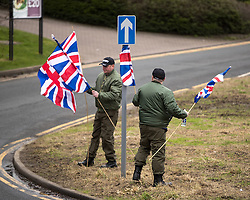 © Licensed to London News Pictures. 25/02/2017. Telford, UK. Britain First hold a demonstration in Telford , opposed by anti-fascist groups . Britain First say they are highlighting concerns about child sexual exploitation in the town . Photo credit: Joel Goodman/LNP
