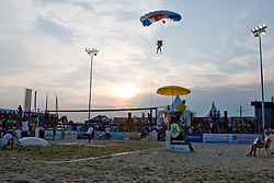 Paratrooper landing on sand before final of Beachmaster 2010 tournament for Slovenian BeachTour on July 17, 2010, in Ptuj, Slovenia. (Photo by Matic Klansek Velej / Sportida)