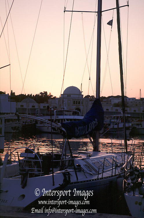 Rhodes Rhodes  Island. GREECE.<br /> General Views inside the Marina complex at Dusk. <br /> 2001 Sunset Rhodes Harbour   [Mandatory Credit; Peter SPURRIER/Intersport Images]