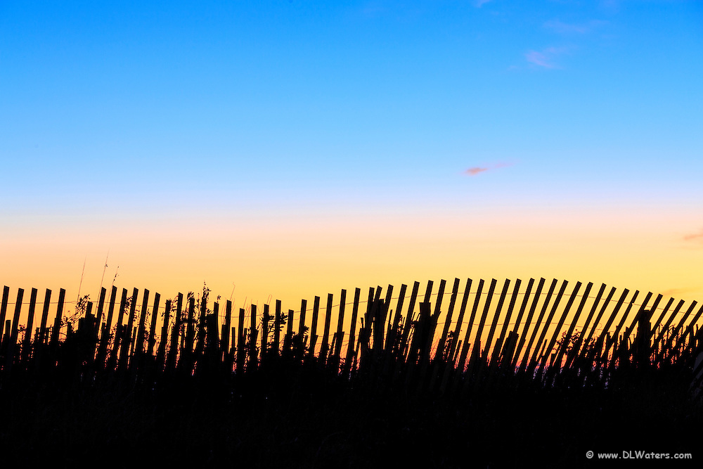 Sand fence silhouette before sunrise on the Outer Banks of NC.