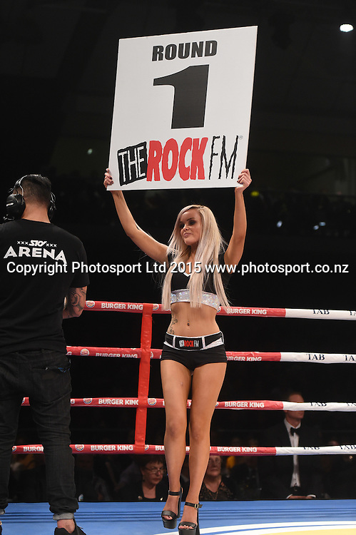 Promo Ring Girl Undercard fight to Parker v Saglam. The Burger King Road to the Title. Fight night by Duco Boxing at Arena Manawatu in Palmerston North, New Zealand. Saturday 13 June 2015. Copyright photo: Andrew Cornaga / www.photosport.co.nz