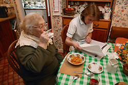Woman having breakfast and a carer checking notes; homecare for the elderly,