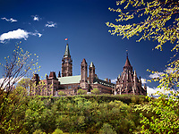 Artistic springtime scenery of The Parliament Hill Buildings in Ottawa, Ontario, Canada May 2017.
