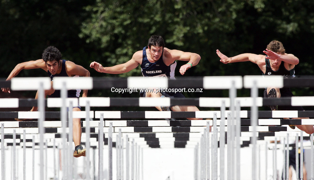 (L-R) Shay Taylor (Auckland), Stephen Buckley (Auckland) and William Ridley (Manawatu) compete in the Men's U19 110m hurdles at the 2007 Union Athletics New Zealand Track &amp; Field Championships at TET Stadium, Inglewood, New Zealand on Saturday 3 March 2007. Photo: Hannah Johnston/PHOTOSPORT<br /> <br /> <br /> <br /> 030307