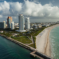 Aerial view of South Pointe Park, South Beach and Miami Beach in the morning. One Ocean is included.