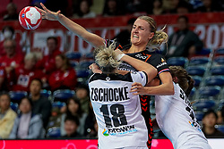 08-12-2019 JAP: Netherlands - Germany, Kumamoto<br /> First match Main Round Group1 at 24th IHF Women's Handball World Championship, Netherlands lost the first match against Germany with 23-25. / Kelly Dulfer #18 of Netherlands, Mia Zschocke #18 of Germany, Alicia Stolle #17 of Germany