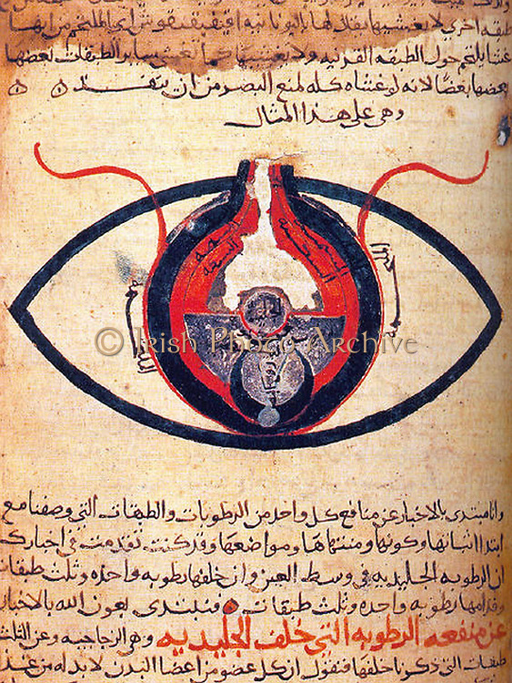 The eye according to Hunain ibn Ishaq also called Johannitius (809-873) Baghdad physican and philosopher. Manuscript c1200.