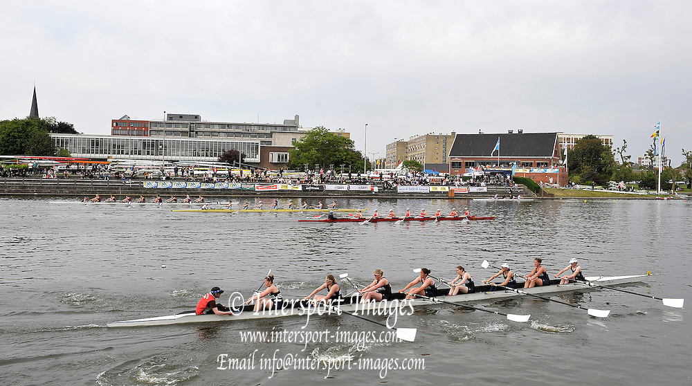Gent, BELGIUM,  View across the course towards, Koninklijke Roeiveniging, Sport Club, Gent,  Boathouse and Boating area, as the W8+ race the last few meters of their race.  International Belgian Rowing Championships, Saturday 09/05/2009, [Mandatory Credit. Peter Spurrier/InterGentImages]