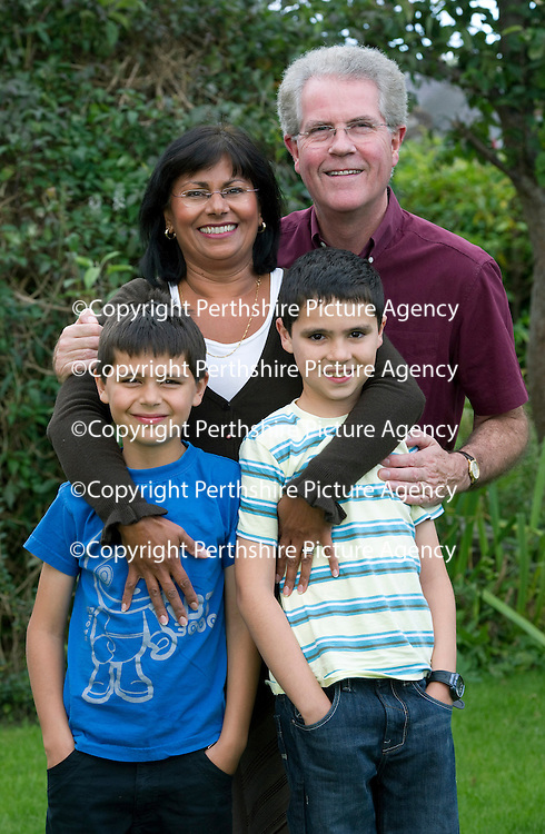 Working mum Farah Adams pictured with her sons Alex (8) and Daniel (10) and husband David at their home in Blairgowrie....08.09.11<br /> Picture by Graeme Hart.<br /> Copyright Perthshire Picture Agency<br /> Tel: 01738 623350  Mobile: 07990 594431
