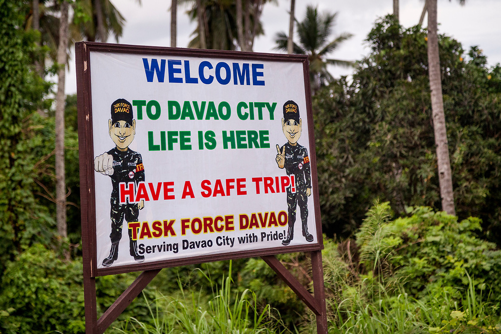 Davao City, Mindanao, Philippines - JUNE 21: A security Check point at entering Davao City.  Security in the city is tight since President Duterte implemented a Martial Law for 60 days in Mindanao due to the heavy fighting in Malawi 250km away.