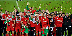 CARDIFF, WALES - Tuesday, October 13, 2015: Wales players celebrate after qualifying for the finals following a 2-0 victory over Andorra during the UEFA Euro 2016 qualifying Group B match at the Cardiff City Stadium. goalkeeper Owain Fon Williams, Sam Vokes, Ben Davies, David Edwards, Sam Vokes, James Chester, Gareth Bale, captain Ashley Williams, Neil Taylor, Jonathan Williams, manager Chris Coleman, Andy King, Aaron Ramsey, masseur David Rowe, James Turner, Chris Gunter, Joe Ledley, physiotherapist David Weeks, Kevin McCusker. (Pic by Paul Currie/Propaganda)